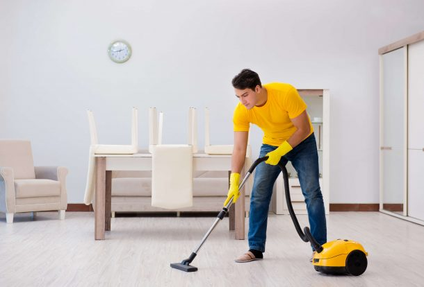 cleaning house with vacuum